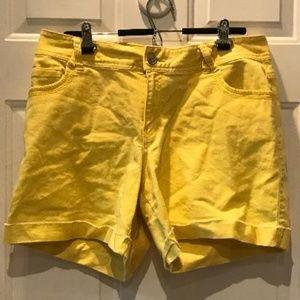 Lane Bryant Yellow Cuffed Jean Shorts-Size 16